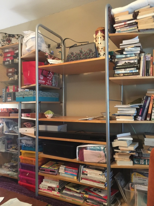 a messy bookshelf